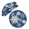 XD19802-Magical Snowflakes Crewel Embroidered Christmas Placemats 16-Inch Round, Set of 4, Red