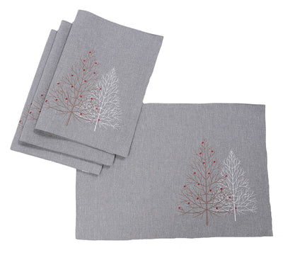XD19803-Festive Trees Embroidered Christmas Placemats 14 by 20-Inch, White, Set of 4
