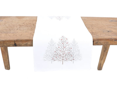 XD19803-Festive Trees Embroidered Christmas Table Runner 16 by 36-Inch, White