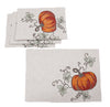 XD19808-Rustic Pumpkin Crewel Embroidered Fall Placemats 14 by 20-Inch, Set of 4