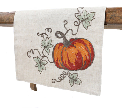 XD19808-Rustic Pumpkin Crewel Embroidered Fall Table Runner 16 by 36-Inch