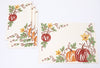 XD19809-Happy Fall Pumpkins Crewel Embroidered Placemats 14 by 20-Inch, Set of 4, Cream