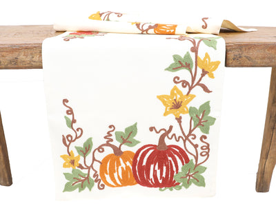 XD19809-Happy Fall Pumpkins Crewel Embroidered Table Runner 16 by 36-Inch, Cream