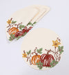 XD19809-Happy Fall Pumpkins Crewel Embroidered Placemats 16-Inch Round, Set of 4, Cream