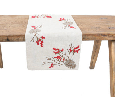 XD19811-Christmas Pine Cone Crewel Embroidered Table Runner 16 by 36-Inch