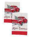 XD19812-Merry Christmas Truck Decorative Towels 14 by 22-Inch, Set of 2