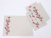 XD19816-Holly Berry Branch Crewel Embroidered Christmas Placemats 14 by 20-Inch, Set of 4