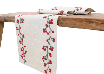 XD19816-Holly Berry Branch Crewel Embroidered Christmas Table Runner 16 by 36-Inch