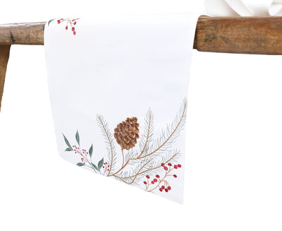 XD19819-Pinecone And Berry Embroidered Christmas Table Runner 16 by 36-Inch