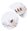 XD19819-Pinecone And Berry Embroidered Christmas Placemats 16-Inch Round, Set of 4