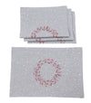 XD19821-Holly Berry Wreath Embroidered Christmas Placemats 14 by 20-Inch, Linen Blend, Set of 4