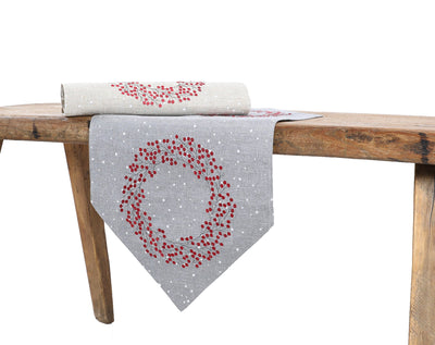 XD19821-Holly Berry Wreath Embroidered Christmas Table Runner 16 by 36-Inch, Linen Blend