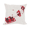 XD19881-Applique Tartan Santa Sleigh With Reindeers Christmas Pillow 14 by 14-Inch