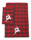 XD19881-Applique Tartan Santa Sleigh With Reindeers Christmas Decorative Towels 14 by 22-Inch, Set of 2