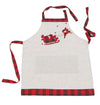 XD19881-Applique Tartan Santa Sleigh With Reindeers Christmas Apron Adults Size 30 by 26-Inch