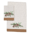 XD19882-Winter Pine Cones & Branches Crewel Embroidered Decorative Towels 14 by 22-Inch, Set of 2