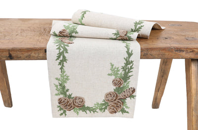 XD19882-Winter Pine Cones & Branches Crewel Embroidered Table Runner 16 by 36-Inch