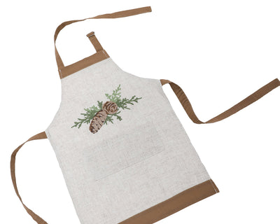 XD19882-Winter Pine Cones & Branches Crewel Embroidered Apron Adults Size 30 by 26-Inch