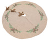 XD19882-Winter Pine Cones & Branches Crewel Embroidered Tree Skirt 56 Inch Round, Jute