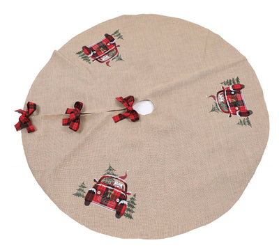 XD19884-Santa Claus Riding On Car Christmas Tree Skirt 56 Inch Round, Jute