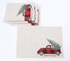 XD19886-Vintage Tartan Truck With Christmas Tree Placemats 14 by 20-Inch, Set of 4