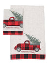 XD19886-Vintage Tartan Truck With Christmas Tree Decorative Towels 14 by 22-Inch, Set of 2