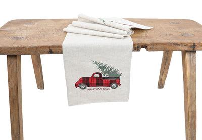 XD19886-Vintage Tartan Truck With Christmas Tree Table Runner 16 by 36-Inch