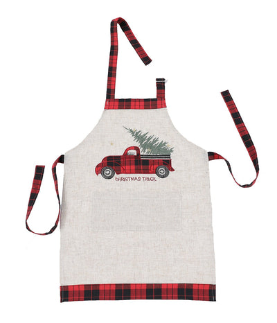 XD19886-Vintage Tartan Truck With Christmas Tree Apron Adults Size 30 by 26-Inch