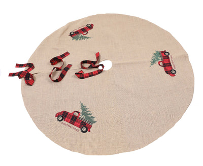 XD19886-Vintage Tartan Truck With Christmas Tree Tree Skirt 56 Inch Round, Jute