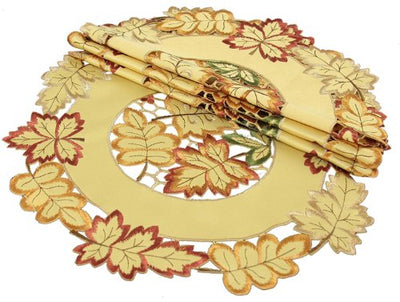 XD75018 Bountiful Leaf Doilies,Set of 4