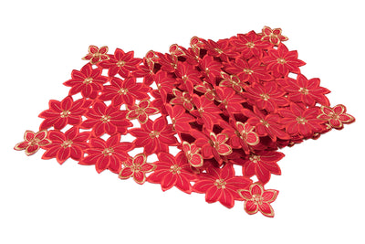 XD795022 Festive Poinsettia Placemats, 14''x20'', Set of 4