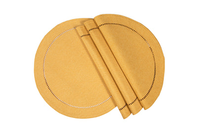"XD915918  Melrose Hemstitch Placemat, 16""Rnd, Set of 4"