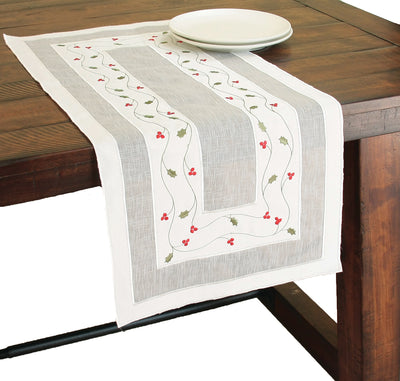 XD93253 Classic Holly Table Runner