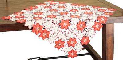 XD99022 Candy Cane Poinsettia Table Topper, 36''x36''
