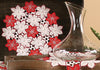 XD99022 Candy Cane Poinsettia Doilies, Set of 4