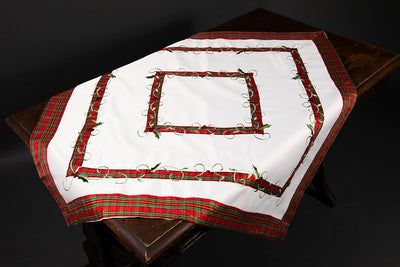 XD99904 Tartan Ribbon Table Topper, 36''x36''