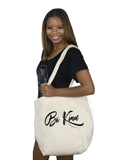Be Kind Script Natural Canvas Bag