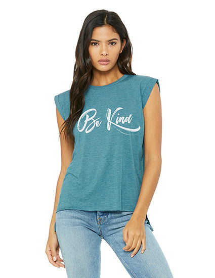 Be Kind rolled cuff teal christian t shirt