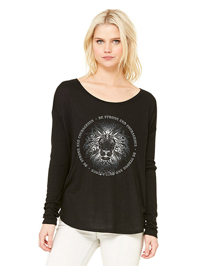 Be Strong and Courageous Black LS Slouchy Tee