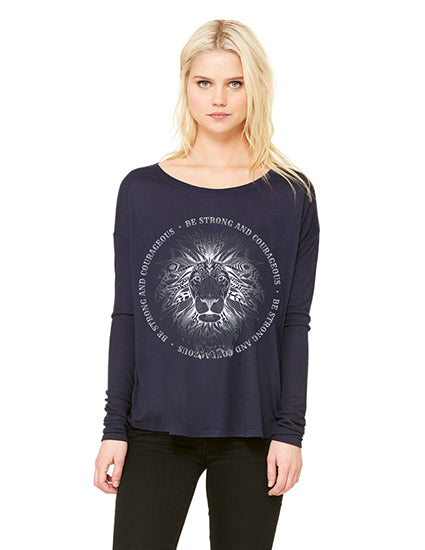 be strong navy ladies long sleeve christian tshirt