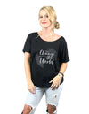Be the Change Black Slouchy Ladies Tshirt