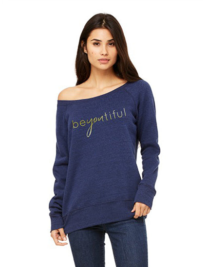 beyoutiful Metallic Navy Slouchy Sponge Fleece Sweatshirt