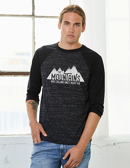 The Mountains are Calling Black & Marble 3/4 Unisex Baseball T shirt