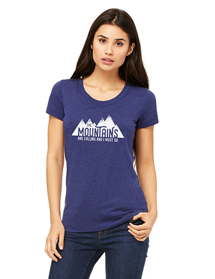 The Mountains are Calling Navy Triblend SS Boyfriend Unisex Tee