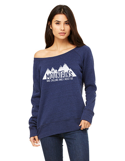 The Mountains Are Calling Navy Slouchy Sponge Fleece Sweatshirt