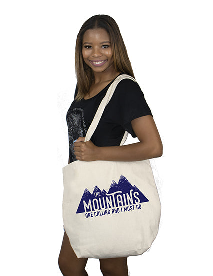 The Mountains are Calling Natural Canvas Bag