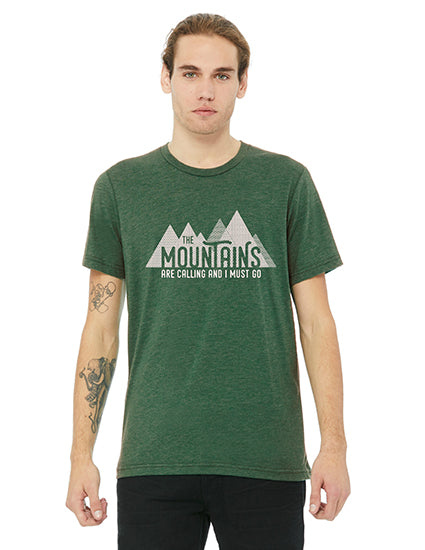 The Mountains are Calling Green Triblend Boyfriend Unisex Tee