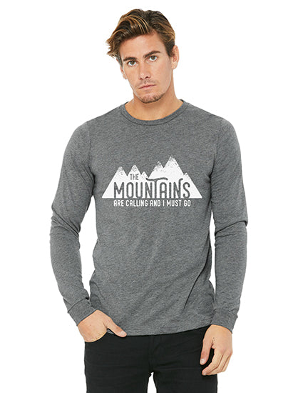 The Mountains are Calling Grey LS Boyfriend Unisex Tee