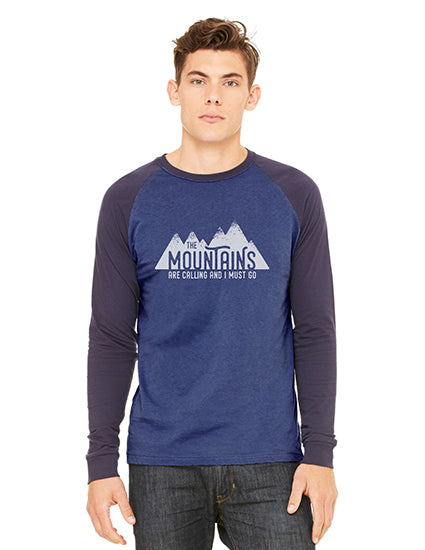 The Mountains are Calling Blue & Blue LS Baseball Tshirt