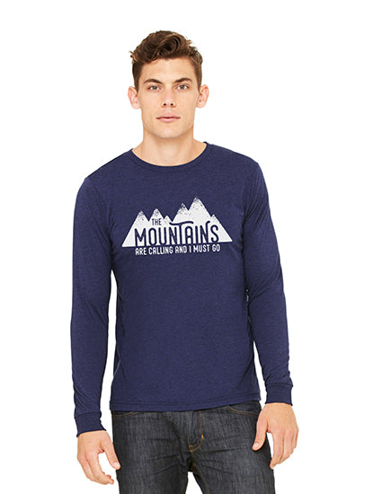 The Mountains are Calling Navy LS Boyfriend Unisex Tee